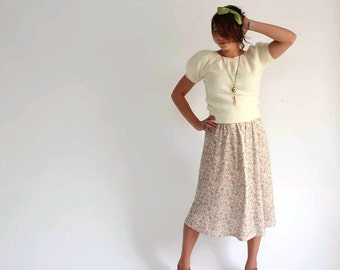 vintage pale pastel poly floral skirt - womens size large