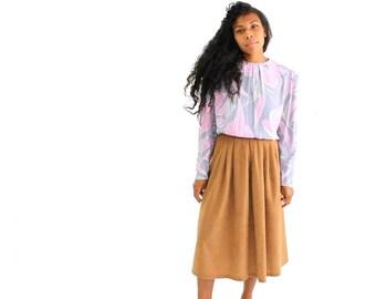 80s vintage blouse . soft pastel blouse . cala lilly blouse . rayon blouse . pastel floral blouse . 1980s secretary blouse
