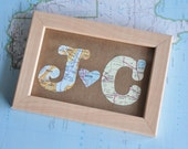 Gift for Him Long Distance Relationship Map Gift Initials Framed
