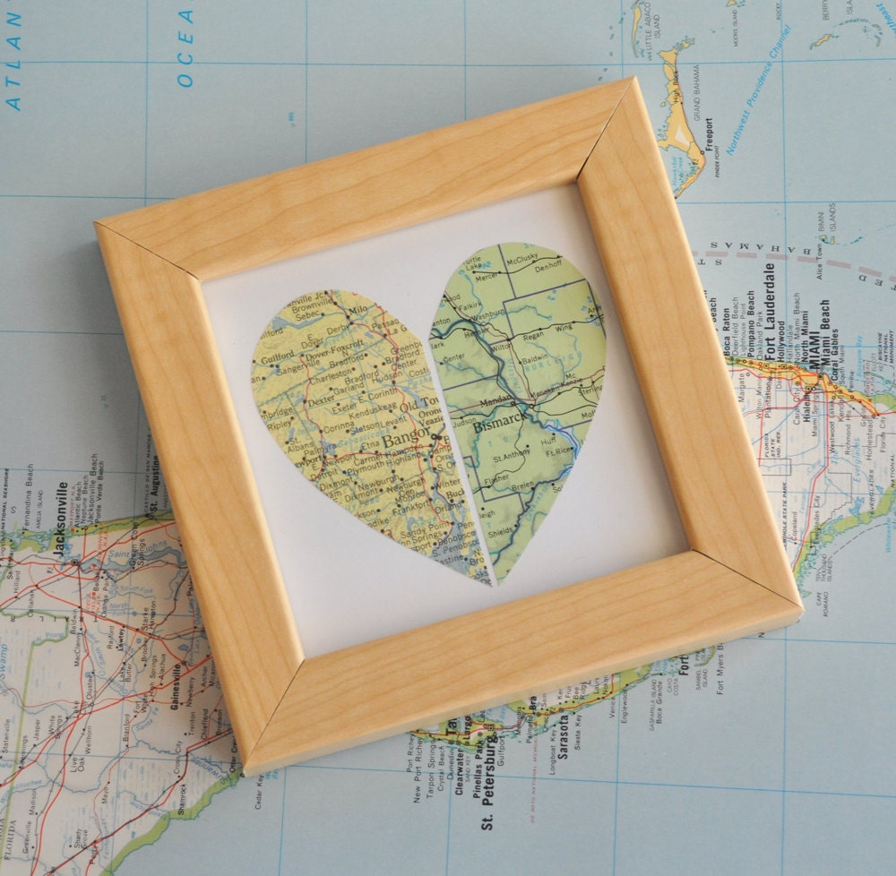 Wedding Gift for Couple Map Heart Framed by ekra on Etsy