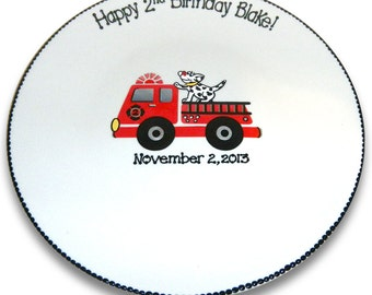 Firetruck and Dalmatian Birthday Signature Platter