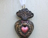 SALE Ex Voto Sacred Heart Hand Sculpted Relief Style Polymer Clay Ornament Flaming Sacred Jesus Christ Catholic Bronze Dishythicket