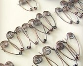 One Antiqued Larger Hammered Copper Safety Pin