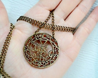 Seal Of Lilith Pendant Solid Bronze Amulet with Chain