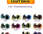 5 Pair of Cat TRANSLUCENT Premium craft animal eyes with washers - You Choose The Color & Size!