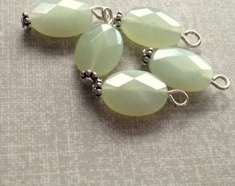 beaded pendant - Jade faceted gemstone wire wrapped beaded charm single charm