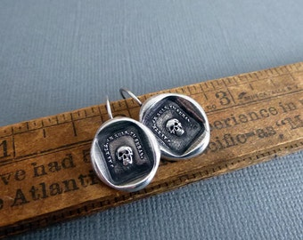 Skull Earrings Memento Mori - From an Antique wax seal of a skull inscribed 'So as you are so once was I' - 107EAR