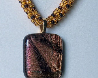 Fused Dichroic Glass Pendant in Amber and Brown Shades Kumihimo Necklace, Smokeylady54