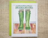 Thinking of you card, spring card, hunter boots, gardening card, rain boots, wellies, notecard