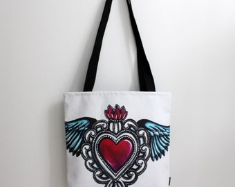 Sacred Heart Printed Tote Bag 13 x 13 inches