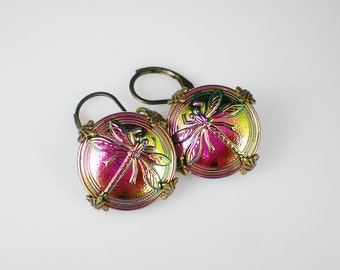 Dragonfly Earrings Fuchsia Gold Green Czech Glass Buttons Oxidized Brass Dragon Fly Jewelry