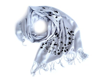 Chill Pill scarf. Pill spill pashmina scarf. Black print on silver & more. For women or men. Perfect for doctors, pharmacy or raving.