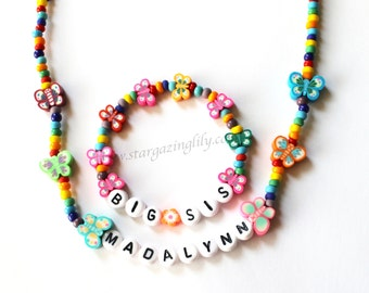 Rainbows & Butterflies Personalized Name Necklace and Bracelet Jewelry Set toddler preschool girls kids size Big Sister Stocking Stuffer