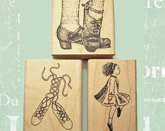 Irish Dance Rubber Stamp Set of 3 Dancer and Dance Shoes Ghillies