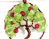 Apple Tree Tree of Life Pendant Peridot Ruby Red Jade Gemstones Wire Wrapped Jewelry Harvest Brown August Birthstone Necklace Teacher's Gift