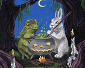Halloween art PRINT choice of 5 x 7 or 8 x 10 gothic art Dark Hollow cauldron, toad, rabbit, candles, fantasy art, woodland creatures