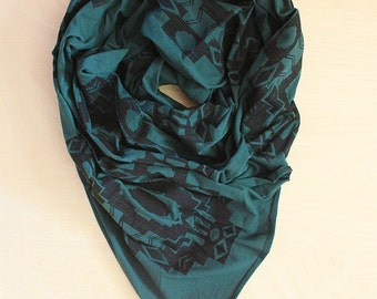 Screen Printed Jersey Scarf in Evergreen with Blanket Print