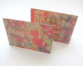 CARD / Valentine / Retro Sweet Vintage Style / Set of 4