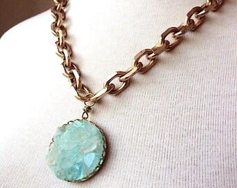 Quartz Crystal Points Statement Necklace - crystal brass chain choker - Druzy pendant - Blue