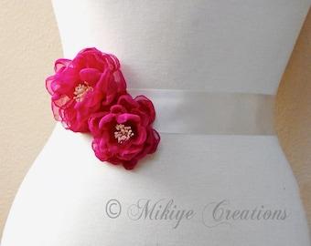 Wedding Sash Accessories, Bridesmaid Accessories, Bridal Hair Flowers, Wedding Hair Clips, Bridal Accessories - In Azalia Fuchsia Chiffon