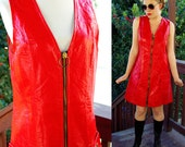 Whiskey a GO-GO 1960's Vintage MOD Original Bright Red Vinyl Sleeveless Shift Dress with Heavy Metal Zipper // size Medium