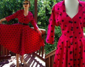 Shake IT Up 1980's does 50's Vintage Hot Pink + Black Polka Dot Dress with Cinched Waist // by Mindy Malone // size Small