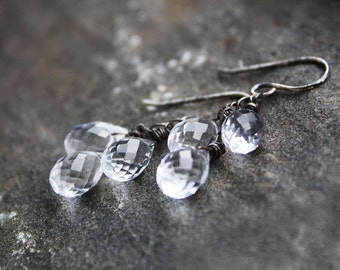 crystal quartz earrings, sterling silver sparkle drop dangle, bridal bridesmaid wedding jewelry