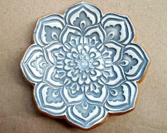 GRAY Ceramic Lotus Ring Holder Dish