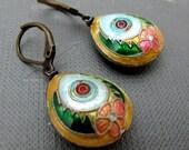 Tibetian Flower Cloisonne Earrings // Yellow Green Pink Cloisonne Bead // Brass Earrings // Gift under 15