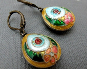 Tibetian Flower Cloisonne Earrings // Yellow Green Pink Cloisonne Bead // Brass Earrings // Gift under 15