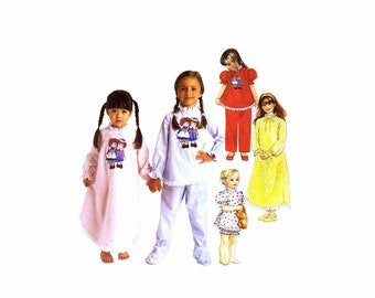 Girls Raggedy Ann & Andy Nightgown Pajamas McCalls 8941 Sewing Pattern Jammies Tops Pants Sleepwear Childrens Size 10 - 12 Uncut
