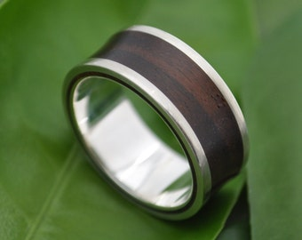 Concava Arco Wood Ring - ecofriendly recycled sterling and wood wedding band, wooden wedding ring, mens wood ring, women's wood ring