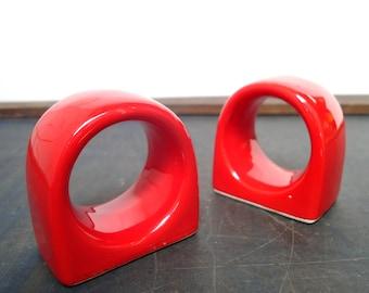 Vintage Red Napkin Rings Set of 6 Ceramic FREE SHIPPING