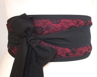 Burgundy Black lace overlay Obi belt by loobyloucrafts