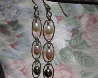 Triple Pearl Silver dangle Earrings - Free Shipping