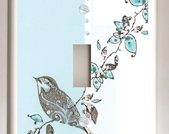 Black Bird  and Tree on Blue and White  - SIngle Toggle Decorative Light Switch Plate