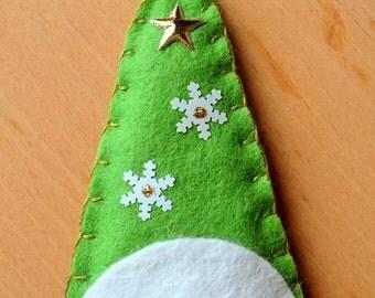 Felt Christmas decoration. Snowman teardrop bauble handmade by the Felt Fairy.