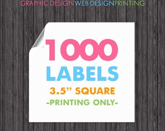 1000 Square Labels 3.5 Inch Full Color Printing Glossy Sticker