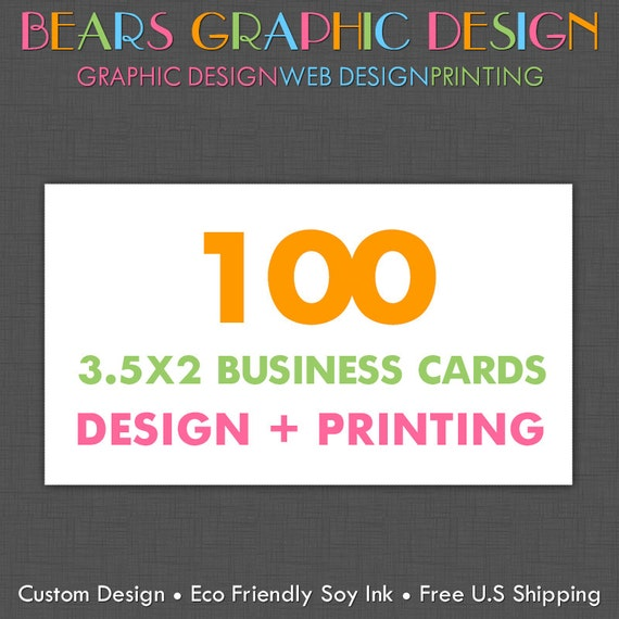 Custom Business Card Design and 100 Printed Business Cards Full Color Glossy or Matte