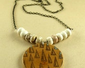 Geometric hand printed wood pendant with howlite stones necklace