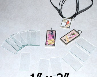 10 Pack of 1 x 2 Inch Rectangles  - Clear Pendant Glass for Collage Altered Art Soldered Jewelry.