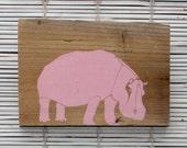 Hippo Wall Hanging on Reclaimed Barn Wood