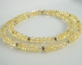 Citrine & Bali Silver Necklace, Yellow Necklace, Citrine Jewelry