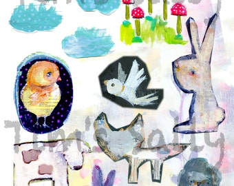 Animal inspired Mixed media, journaling collage sheets - by Mindy Lacefield