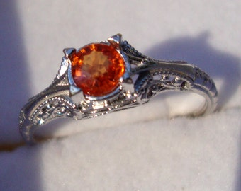 Filigree Ring Natural unheated Orange Sapphire Ethical, Fair Trade in 14k white gold eco-friendly reclaimed/recycled Antique style