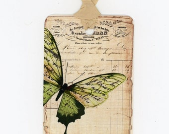 Butterfly Tags, Green Butterfly , Vintage Tags, French Tags, Country Wedding Favors