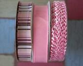 3 Piece Lot of Decorative Spool Ribbon - Pretty in Pinks