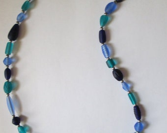 Blue and Teal Glass Beaded Necklace