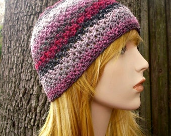 Crochet Hat Womens Hat - Chesapeake Beanie in Poodle Pink Black White Crochet Hat - Pink Hat Pink Beanie Womens Accessories Winter Hat