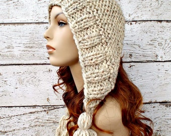 Wheat Womens Hat Knit Hood Ear Flap Hat - Tassel Hat Wheat Knit Hat - Wheat Hat Womens Accessories Winter Hat
